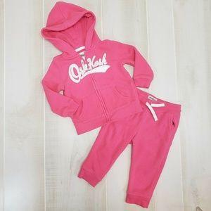 Oshkosh 12-18 M Sweatsuit Hoodie Sweatpants Pink